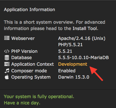Application Information in the TYPO3 Backend