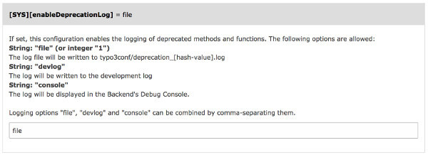 Install Tool option to enable the Deprecation Log