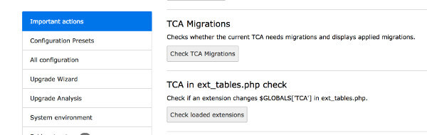 Two TCA migration related buttons in the TYPO3 Install Tool