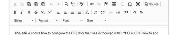 The CKEditor in the TYPO3 Backend
